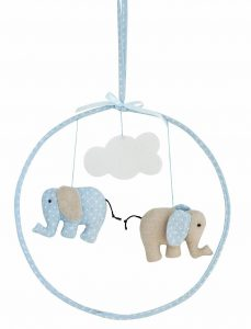 Alimrose Designs Hanging Mobile - Linen Elephant