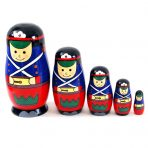 Wooden SOLDIER Marching Boy Nesting Russian Dolls