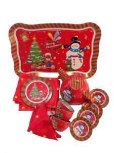MERRY CHRISTMAS 20pc Children's Tin Tea Set