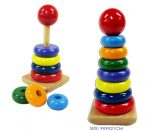 Childrens Wooden Rainbow Stacking Rings Educational Puzzle