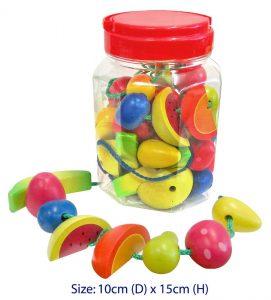 Fun Factory Educational Wooden Lacing Fruit in Jar - Set 34