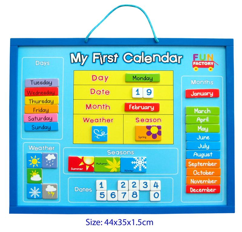 Wooden Educational Magnetic My First Calendar Weather Chart