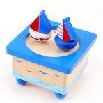 Wooden Wind Up Music Box - Nautical Sailboats