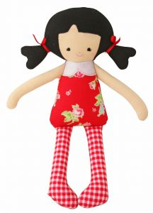 Alimrose Designs Martha Doll Rattle - Red Floral 26cm