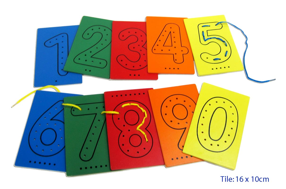 Fun Factory Educational Wooden Lacing Numbers - 10pc