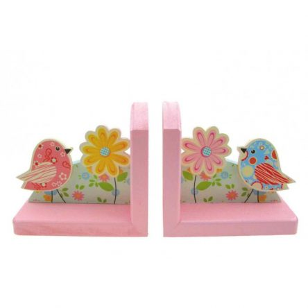 Wooden Floral Bird Bookends