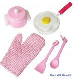 Fun Factory Pink Wooden Cooking Set 7pc with Oven Mit
