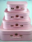 Decor Suitcase Set of 4 - Polkadot PINK
