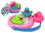 Bath Toys Set - Rubber Ducks in Mesh Fishing Basket