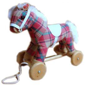 Wood & Plush Pull Along Pony Horse w/ Sound - Saddle Club Check