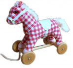 Wood & Plush Pull Along Pony Horse w/ Sound - Cherry Ripe Check