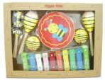 Kaper Kidz Wooden 7-pc Musical Instrument Percussion Set -Yellow