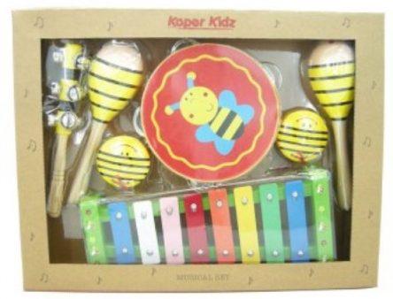 Kaper Kidz Wooden 7-pc Musical Instrument Percussion Set -Yellow