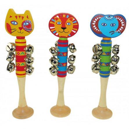 Kaper Kidz Wooden Cluster Bell Shaker Stick - Animals