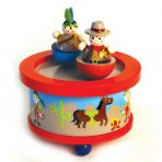 Wooden Wind Up Music Box - Cowboys