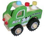 Wooden Milk Truck with Rubber Wheels
