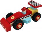 Wooden Red Racing Car with Rubber Wheels