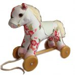 Wood & Plush Pull Along Floral Pony Horse w/ Sound
