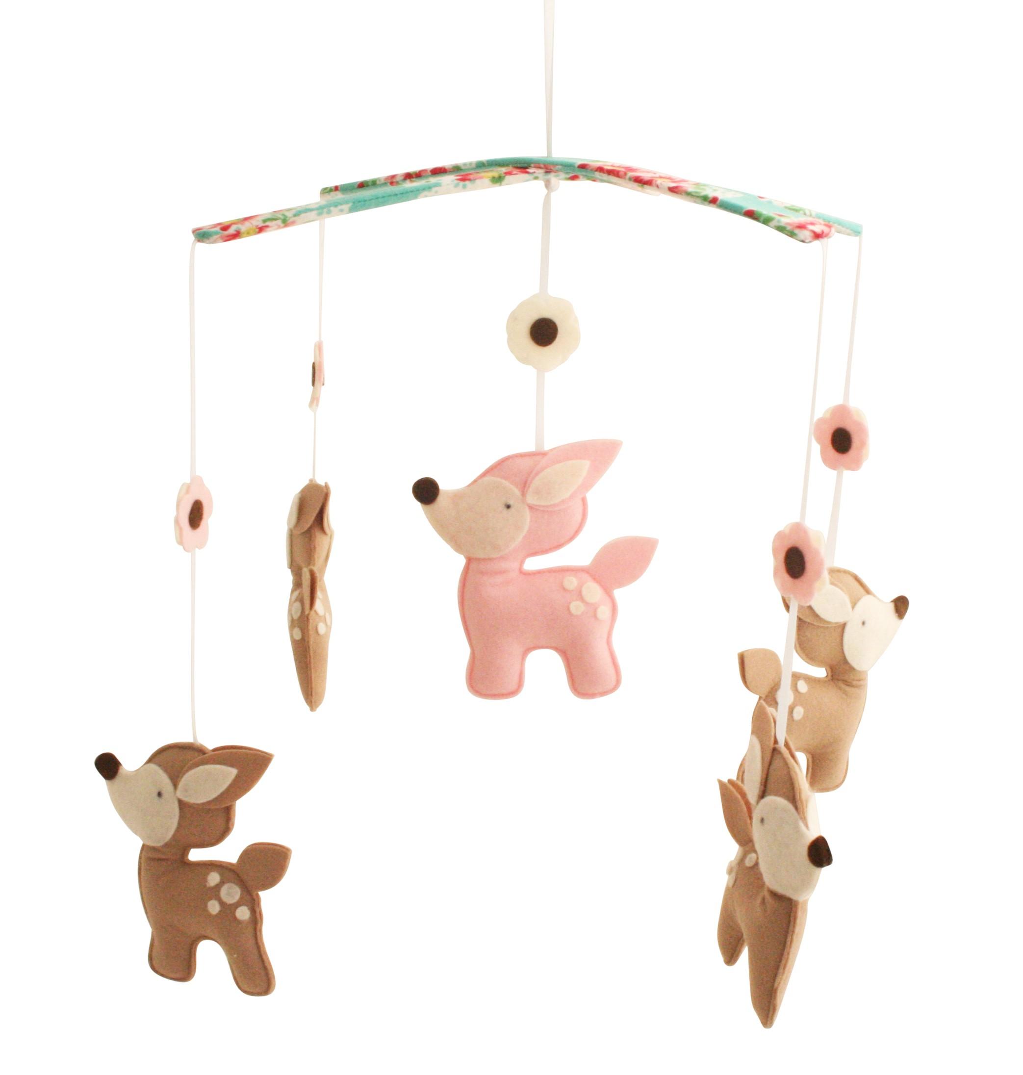 Alimrose designs baby deer nursery mobile green pansy - Designer babymobel ...