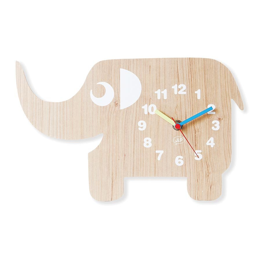 Jip Wooden Childrens Wall Clock Ellie The Elephant