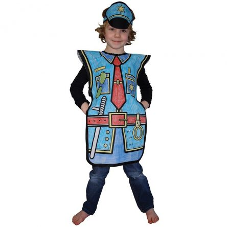 Colour Your Costume - Childrens Colouring Dress Up Kit - Police