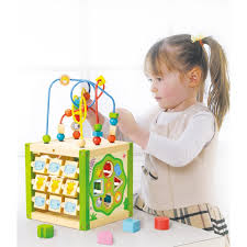 EverEarth 5 in 1 Wooden My First Activity Cube with Bead Maze