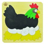 andZee Naturals Wooden Double Layered Puzzle - Chicken & Eggs