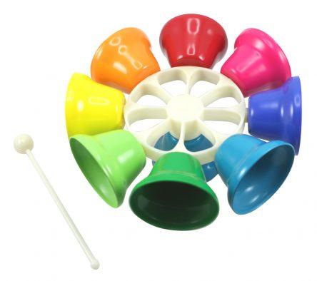 Children's Rainbow Music Percussion Spinning Hand Bells - 8 Tone