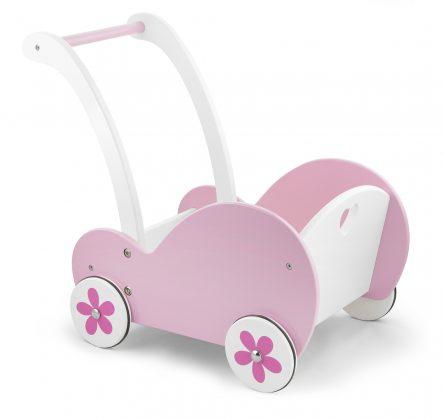 Viga Toys Traditional Pink Wooden Dolls Buggy Pram