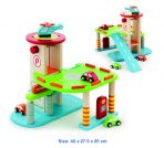 Viga Toya Wooden Garage - 2 Levels, Cars, Helicopter
