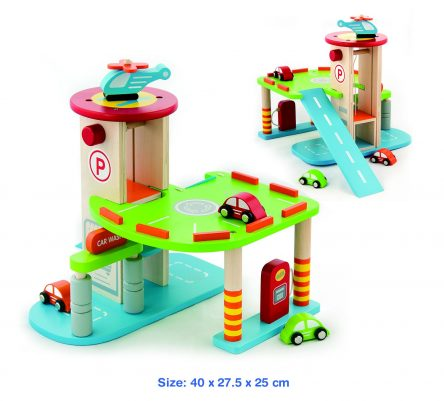Viga Toya Wooden Garage - 2 Levels, Cars, Helicopter