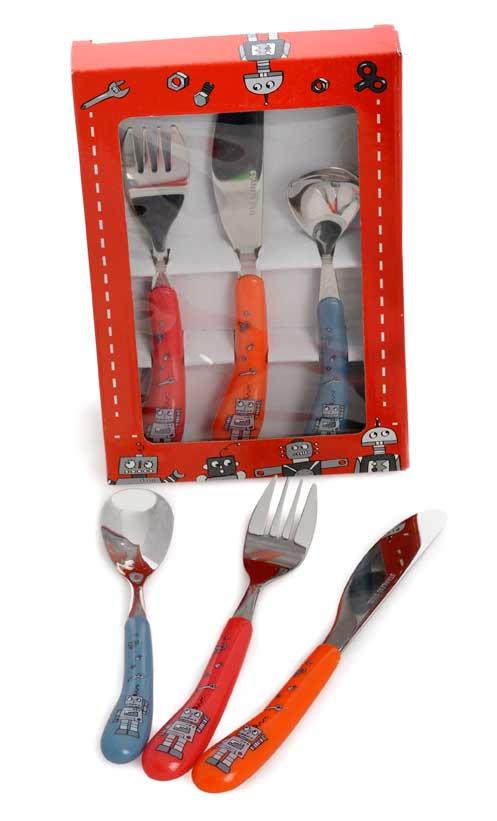 Egmont Kids Mini Cutlery Set - Fork, Spoon, Knife - Robots