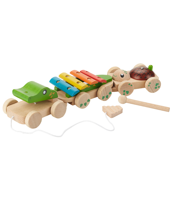EverEarth Wooden Pull Along Musical Crocodile