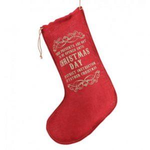 Red Hessian Christmas Stocking - Santa - Christmas Day print