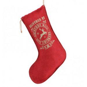 Red Hessian Christmas Stocking - Santa - Reindeer Mail print