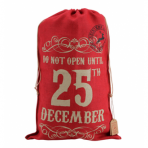 Red Hessian Giant Christmas Gift Santa Sack - December 25th