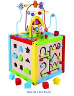 Viga Toys Childrens 5 in 1 Wooden Toy Activity Cube - Bead Maze