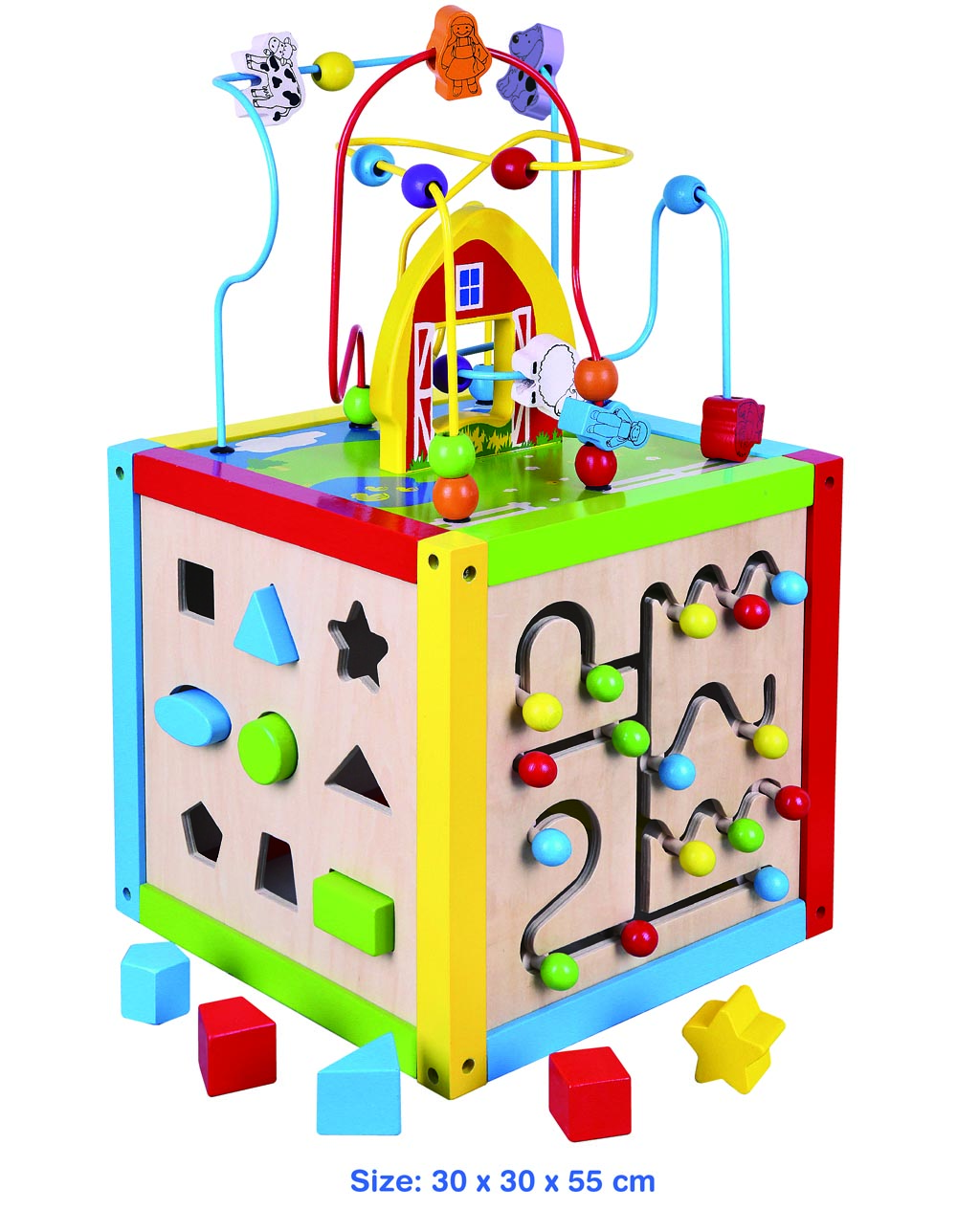 Viga Toys Childrens 5 In 1 Wooden Toy Activity Cube Bead Maze