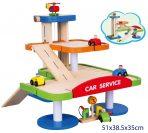 Viga Toya Wooden Garage - 3 Levels, Cars, Helicopter