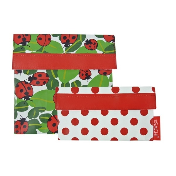 Sachi Lunch Pockets Set - SANDWICH & SNACK - Reusable - Ladybug