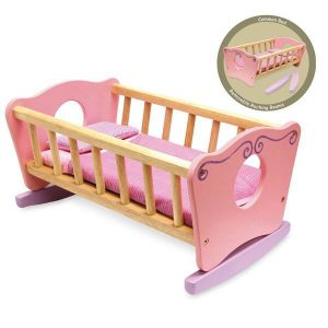 I'm Toy Wooden Doll Cradle / Cot Bed including Bedding