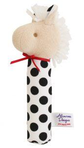 Alimrose Designs Soft Stick Baby Squeaker - Horse Blk Wht Spot