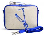 So Young Insulated Lunch Bag Box Coated Linen - Blue Scooter
