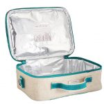 So Young Insulated Lunch Bag Box Raw Linen - Aqua Bunny