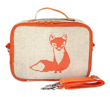 So Young Insulated Lunch Bag Box Raw Linen - Orange Fox