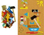 Kaper Kidz Wooden PIRATE TAP A SHAPE Set w/ Cork Board and Nails