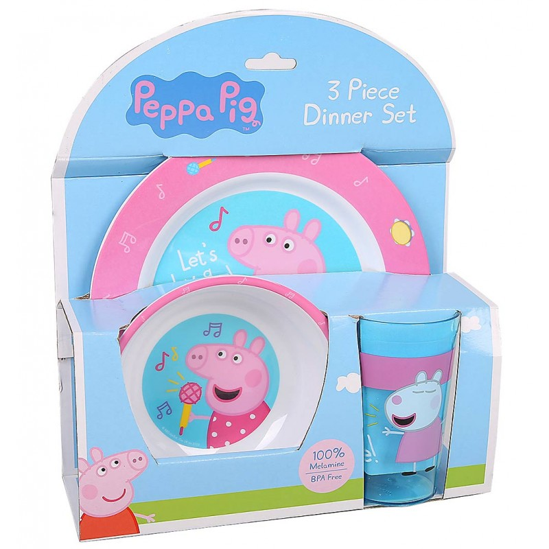 Peppa Pig 3pc Dinner Set ...  sc 1 st  Baby Vegas & Peppa Pig 3pc Dinner Set - Plate Bowl \u0026 Cup - Pink | Baby Vegas