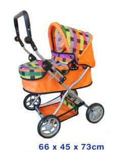 Fun Factory Deluxe Toy Dolls Pram - Orange Lattice