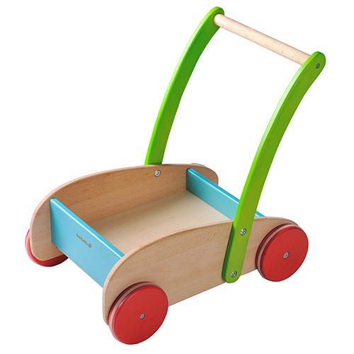 Everearth Wooden Push Along Wagon Walker With Alphabet Blocks
