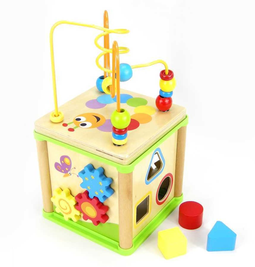 Top Bright Childrens 5 In 1 Wooden Activity Cube With Bead Maze